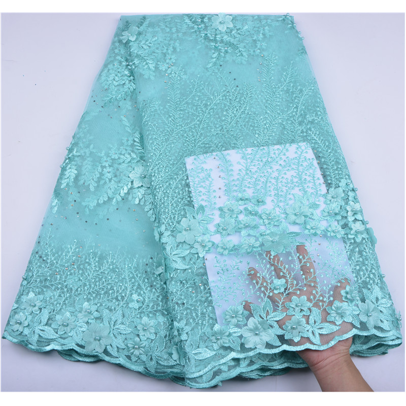 3D Flower Fabric Embroidery Mesh Tulle Lace With Beads Nigeria Lace Fabric Fashion African French Net