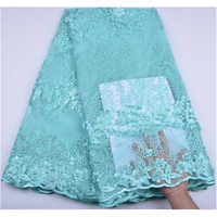 3D Flower Fabric Embroidery Mesh Tulle Lace With Beads Nigeria Lace Fabric Fashion African French Net Lace Fabric A1255