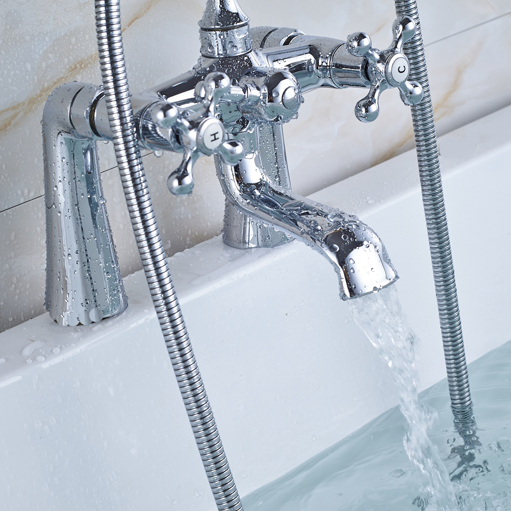 shower hook up to bathtub faucet. Bright Chrome Deck Mounted Bathtub Faucet Mixers Brass Handheld Shower Dual  Handle Swivel Spout Tub Taps Telephone Style In Faucets From Home