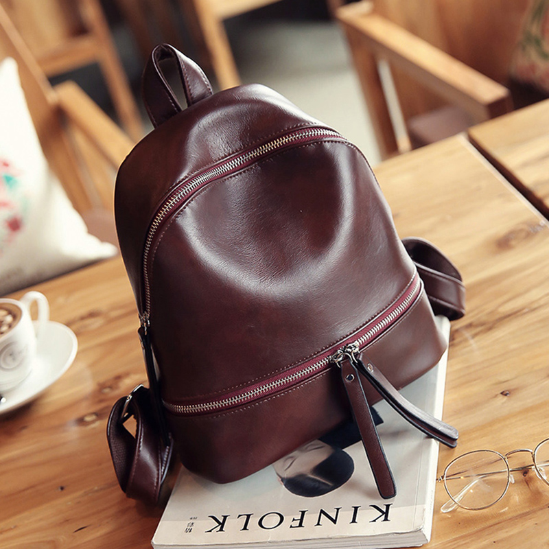 Vintage Women Backpack Designer Pu Leather Female Travel Backpacks Small Preppy Style School Bag For Girls Rucksack Black Brown