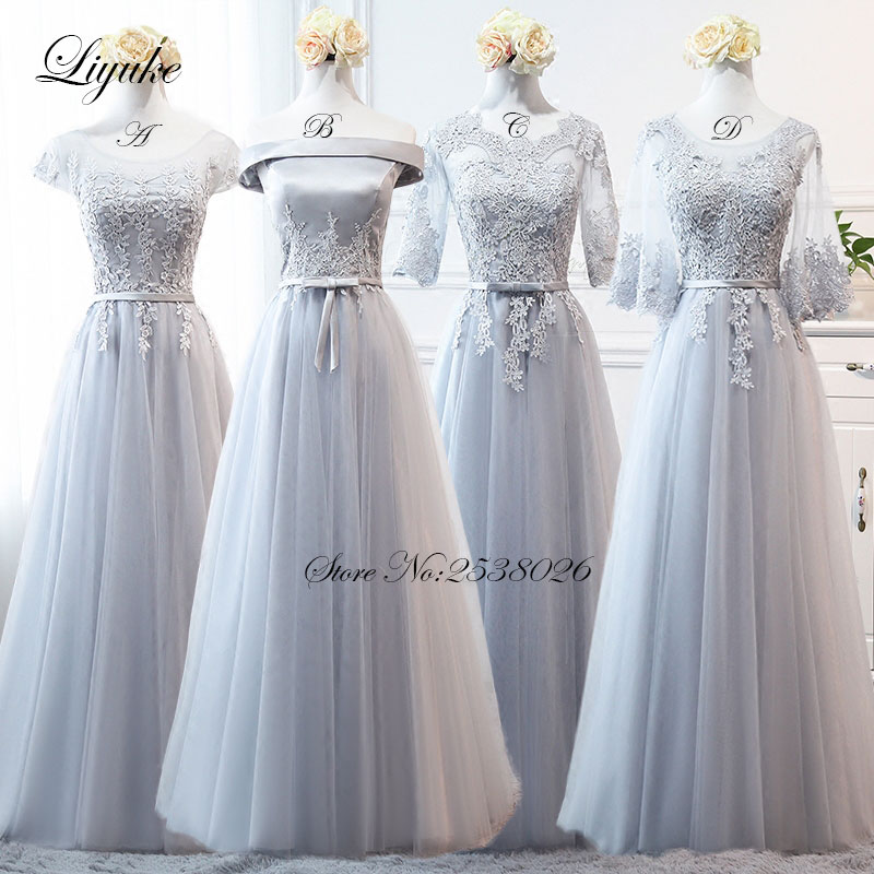 Liyuke Off The Shoulder Gasa Strapless Vestido largo formal Simple - Vestidos de fiesta de boda