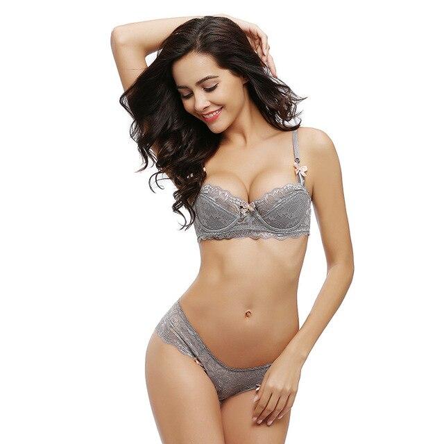 351d6c09ded Lace Sexy Bra Set 1 2 Cup Bra Brief Sets for Women Transparent Push ...