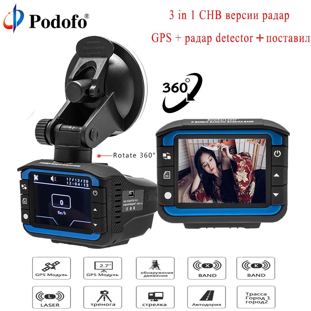 Podofo 3 em 1 Car Dash Câmera Rastreador GPS Detector de Radar registrador de Voz Russo Laser Speedcam Anti Radar Traço Cam visão Noturna