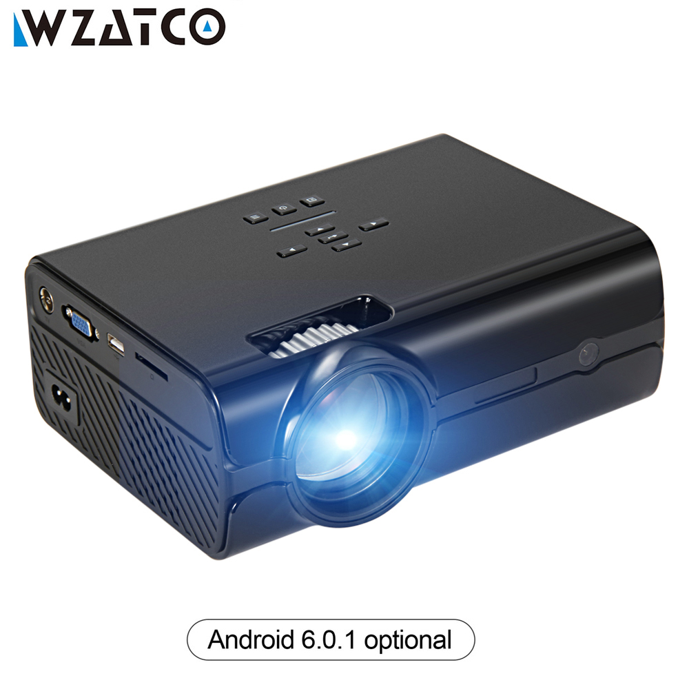 WZATCO CT68S 2500lume Mini Projector Full HD 1080P Portable 3D LED Projector Wifi Android Smart Multimedia