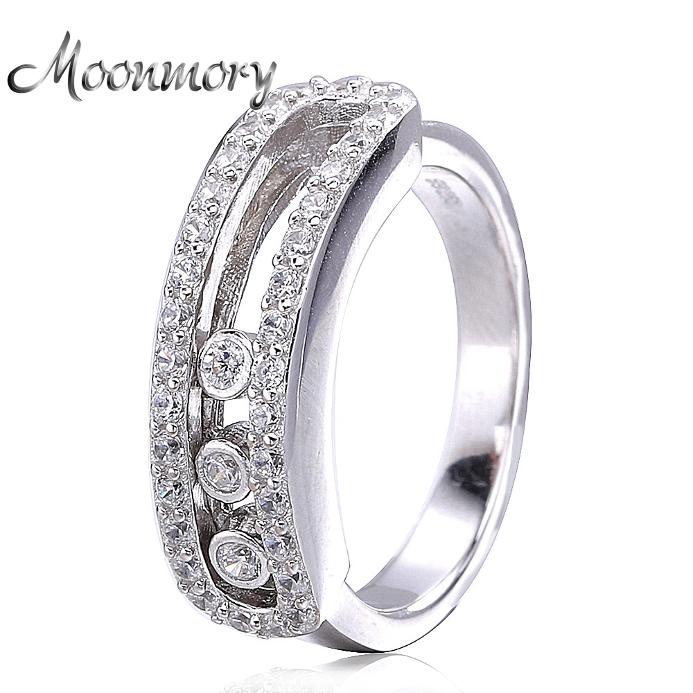Moonmory France Popular 925 Sterling Silver Ring With Can Moved Zirconia Fit Women Wedding Engagement European Fashion Jewelry 2017 fashion european popular 100