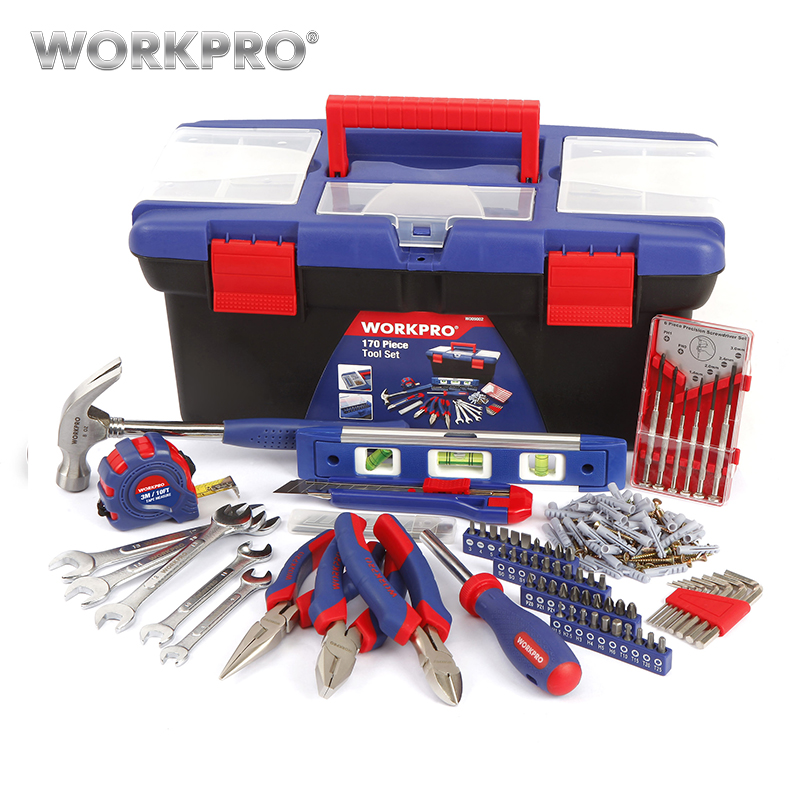 WORKPRO 170PC Household Tool Set Home Tools Plastic Tool Box Set цена