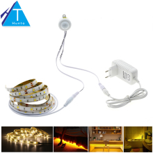 Pir Motion Sensor LED Strip 5050 Waterproof 30LEDs/m Warm White + Intelligent Sensor Light Control Bedroom Lighting
