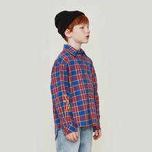 New Spring Autumn Boys Long Sleeve Shirt Hip-hop Letter Print Childrens Plaid Kid Turn-down Collar Tops