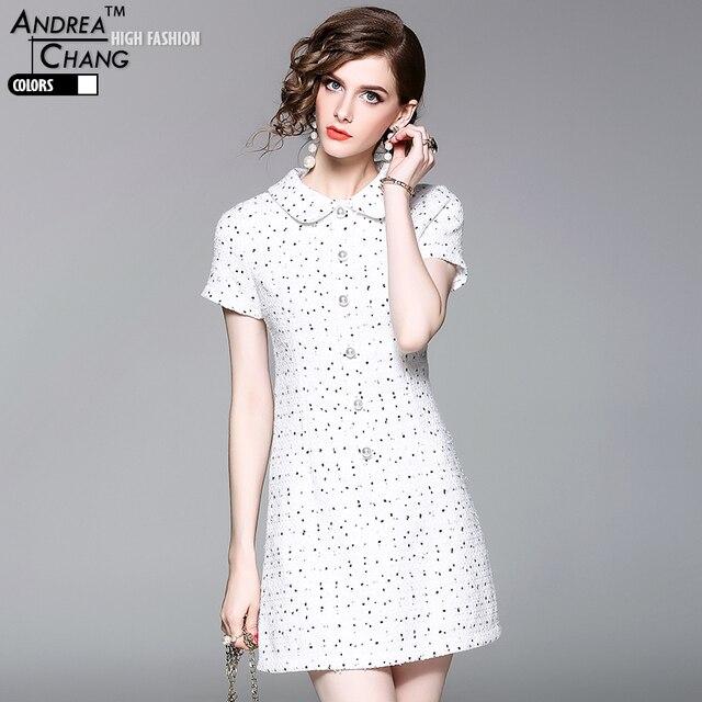 c48001be3 Alta calidad del otoño del resorte mujer del vestido blanco vestido de punto  faux botón de