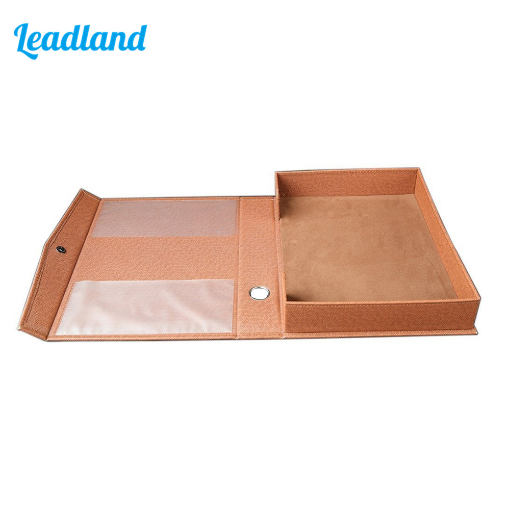 A4 PU Leather File Folder Document Paper Box Organizer Office Gift File Desktop Organizer