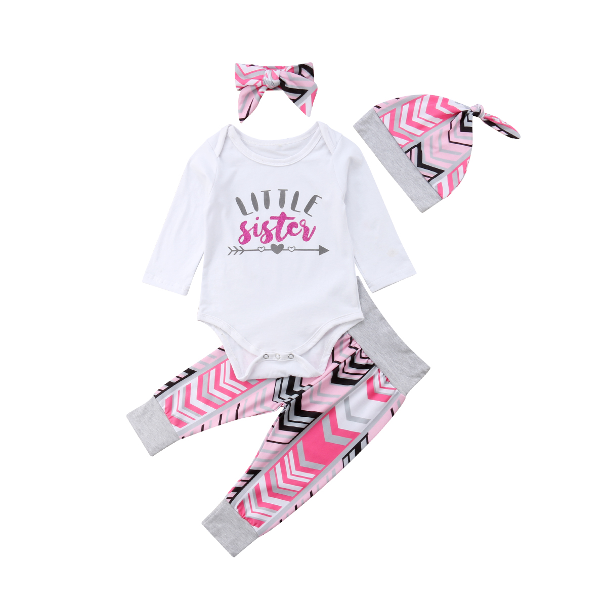 Newborn Baby Girl Clothing Little Sister Tops Bodysuits Long Pants Headbands Hats 4PCS Cotton Clothes Baby Girl 0-24M