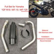 Ligne déchappement complète avec silencieux et collecteur central, modifiée, en acier inoxydable, pour Yamaha YZF R15 MT 15, 2008 2017, MT 125