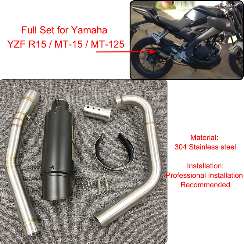 YZF R15 MT15 Full Set Modify Exhaust Muffler Silencer Middle Link Pipe Stainless Steel For Yamaha YZF R15 MT 15 2008 2017 MT 125-in Exhaust & Exhaust Systems from Automobiles & Motorcycles