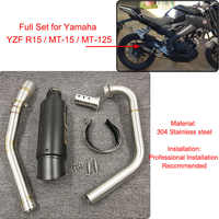 YZF R15 MT15 Full Set Modify Exhaust Muffler Silencer Middle Link Pipe Stainless Steel For Yamaha YZF R15 MT-15 2008-2017 MT 125