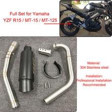 YZF R15 MT15 Vollen Satz Ändern Auspuff Schalldämpfer Mittleren Link Rohr Edelstahl Für Yamaha YZF R15 MT 15 2008  2017 MT 125