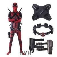 2018 Deadpool 2 Costume Adult Man Spandex Lycra Zentai Bodysuit Halloween Cosplay Suit Belt Headwear Mask Sword holster