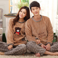 Free shipping flannel pajamas autumn and winter couple pajamas set long sleeve sleepwear super soft coral fleece pajamas