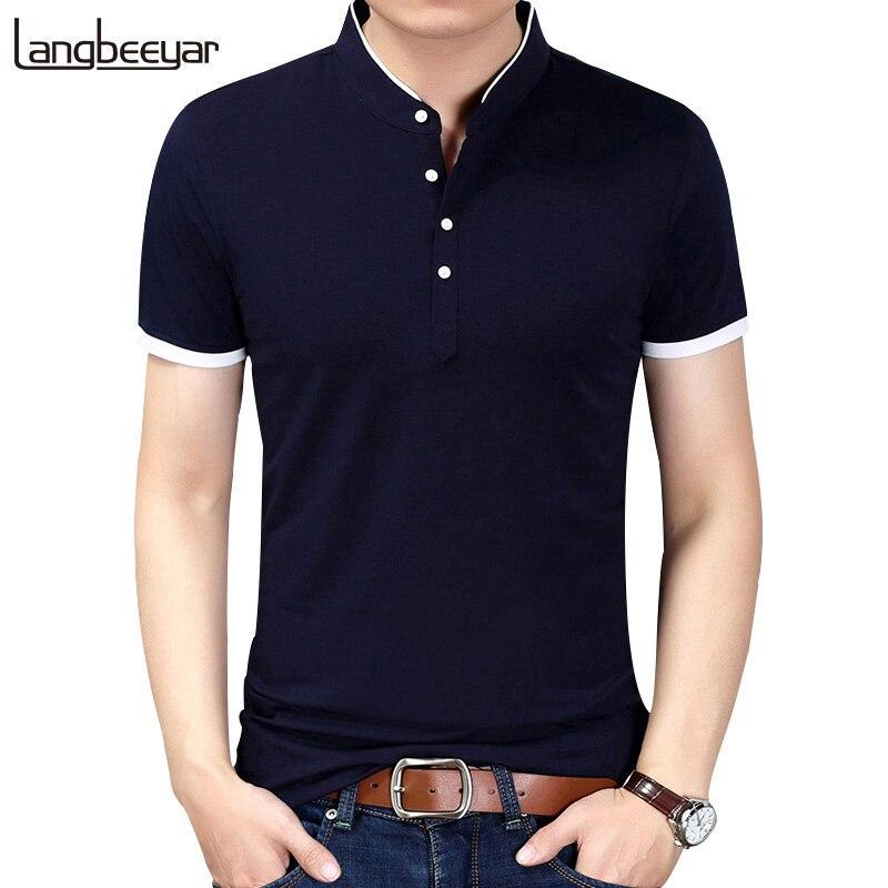 2018 sommer Neue Mode Marke Kleidung T-shirt Männer Einfarbig Slim Fit Kurzarm T Hemd Männer Stehkragen Casual t-Shirts