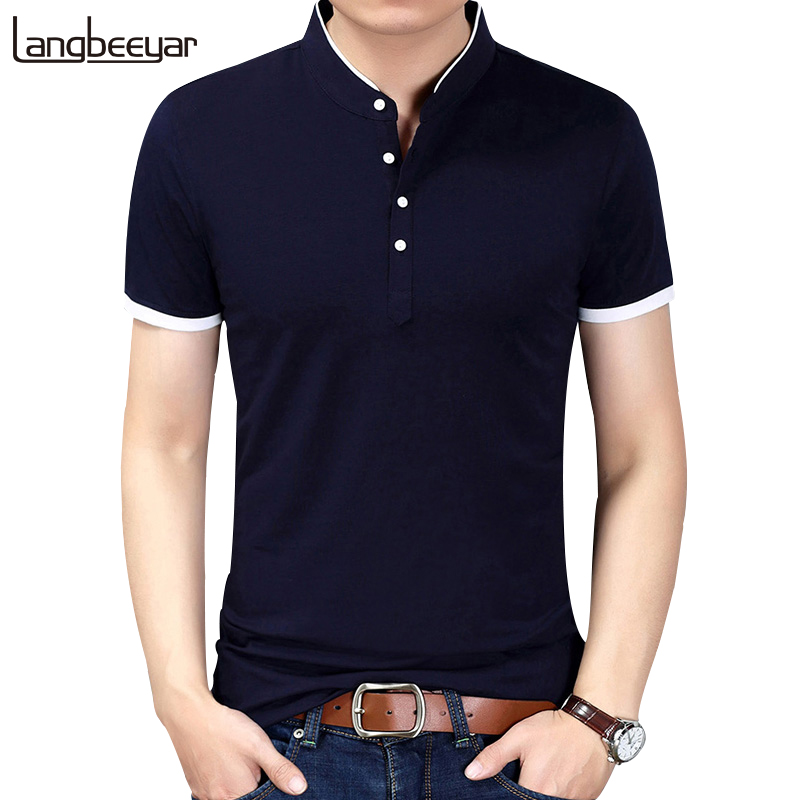 2019 Summer New Fashion Brand Clothing Tshirt Men Solid Color Slim Fit Short Sleeve   T     Shirt   Men Mandarin Collar Casual   T  -  Shirts