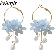 Hot magic support  earrings for gold/silver jewelry Big 2018 fashion statement Flowers eardrop Fashion jewelr
