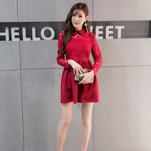2017 New Spring Women dress Patchwork Lace Elegant Small Polo Brought Big Pendulum Dresses Red Black 6051