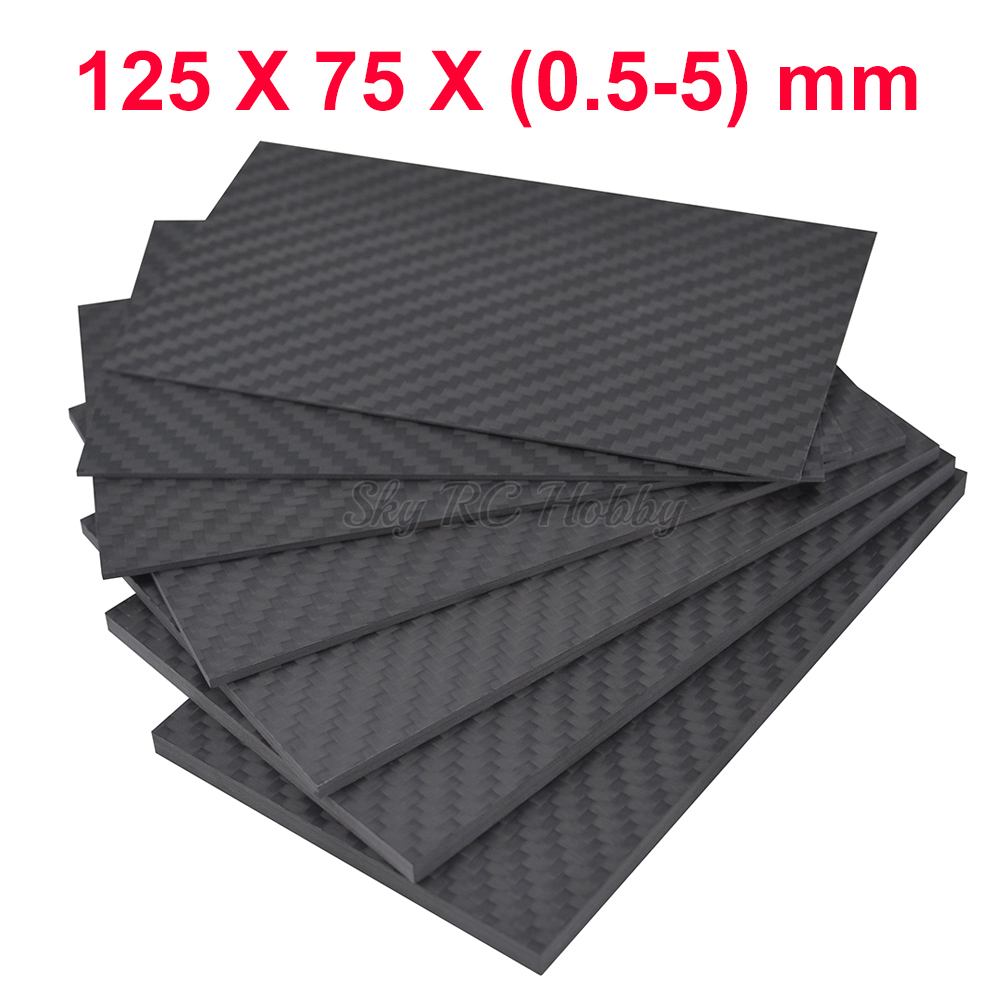 125mm X 75mm 0.5mm 1mm 1.5mm 2mm 3mm 4mm 5mm Carbon Fiber Plate Panel Sheets Matte High Composite Hardness Material 125 X 75 Mm