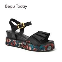 BeauToday летние сандалии на платформе из натуральной коровьей кожи Туфли с ремешком и пряжкой принты Одежда высшего качества Женская обувь на