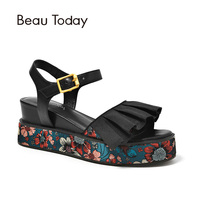 BeauToday Summer Platform Sandals Genuine Cow Leather Buckle Strap Prints Top Quality Women Wedges Heel Shoes 32065