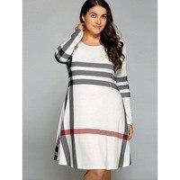 LANGSTAR 2018 Casual Plus Size 5XL Striped Long Sleeve T Shirt Dress Women Fashion Patchwork Stripe