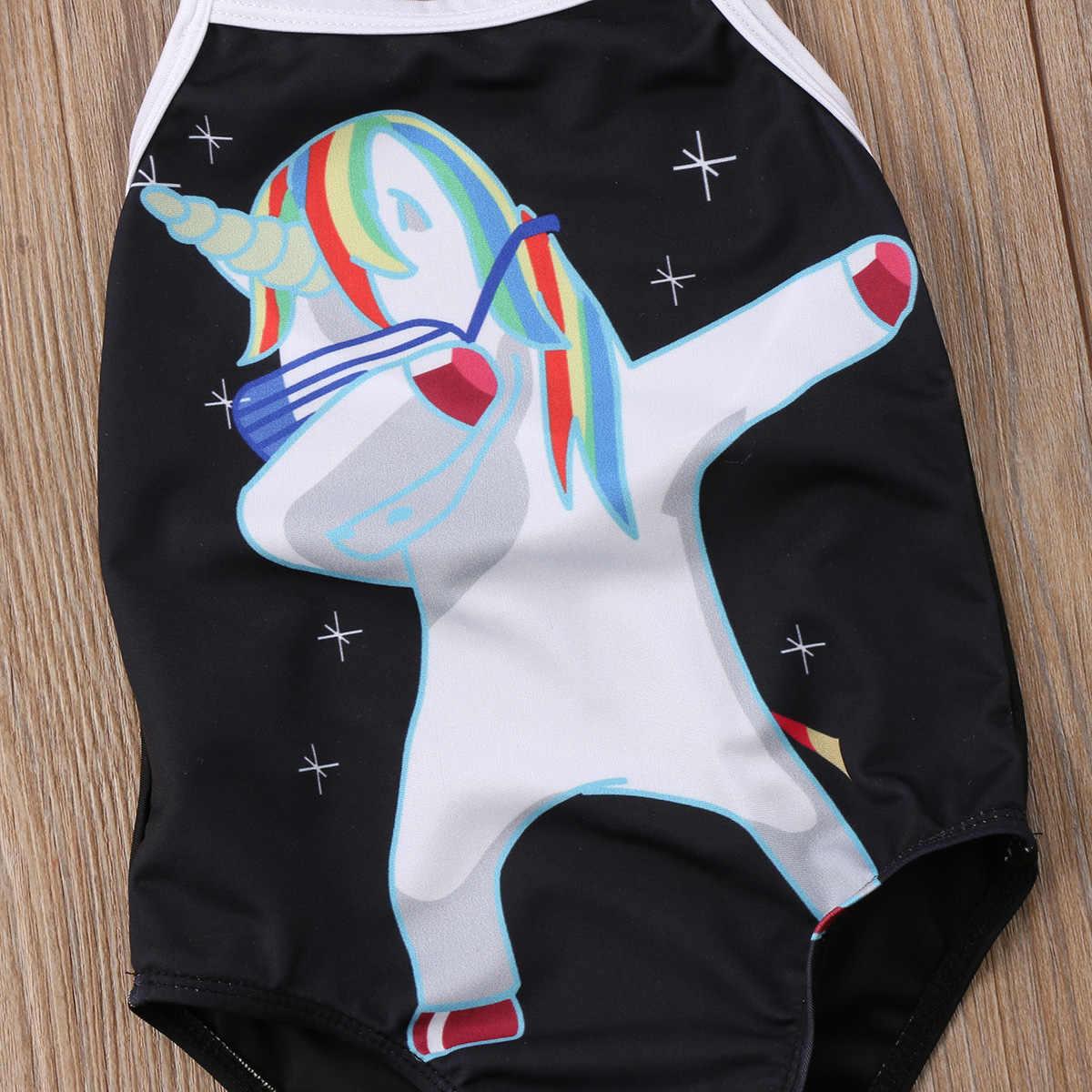 2018 купальник с единорогами дети бикини для маленькой девочки набор черный милый купальник купальный костюм Пляжная одежда 2-7T