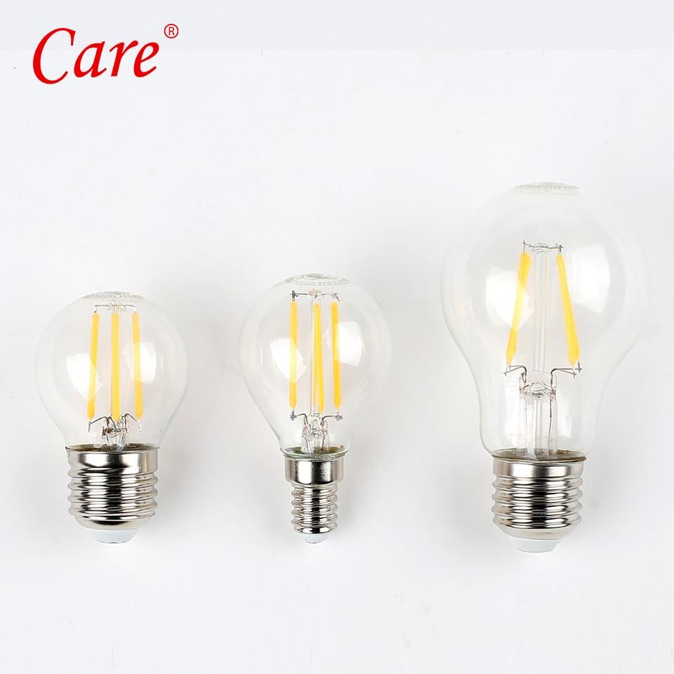 Care Clear Globe Bulbs 4W 8W Vintage LED Filament Bulb e27 Edison Light Bulb Backyard Patio Light 3000K Warm White LEDs Fixtures
