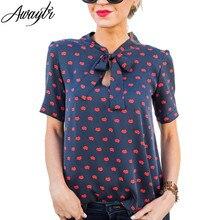 Women Summer Fashion Chiffon Red Mouth Print Blouse Elegant Short Sleeve Print O-Neck Shirt 2019 Tops Blusas Femininas Plus Size