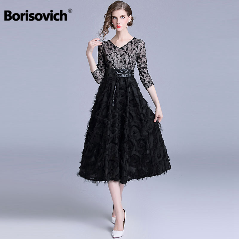 Borisovich Luxury Elegant Evening Party Dress New Brand 2018 Autumn Fashion V-neck Patchwork Lace Women Casual Long Dresses M861