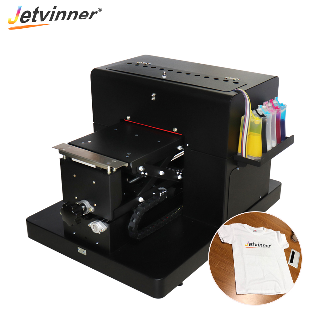 Jetvinner A4 size flatbed printer professional colthing print machine for EPSON L800 printers for white and