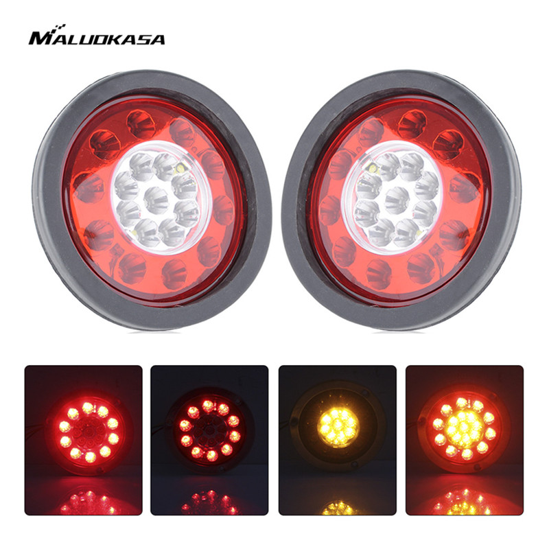 MALUOKASA 2x 4.3'' Round 19 LED Auto Brake Light Truck Trailer Lorry Turn Signal Tail Lamp Chrome Ring LED 12V Stop Light Bulb 1 x t25 3157 50w led car auto signal brake stop tail light bulb signal lamp white external lights