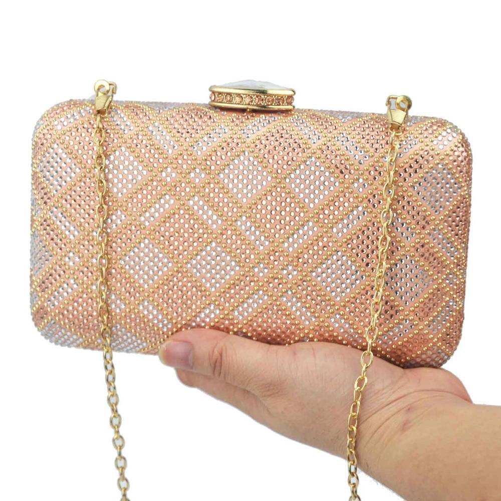 Bridal Purse Clutch-Bags Evening-Bags Rose-Gold Wedding Champange Women Cheaper Stones