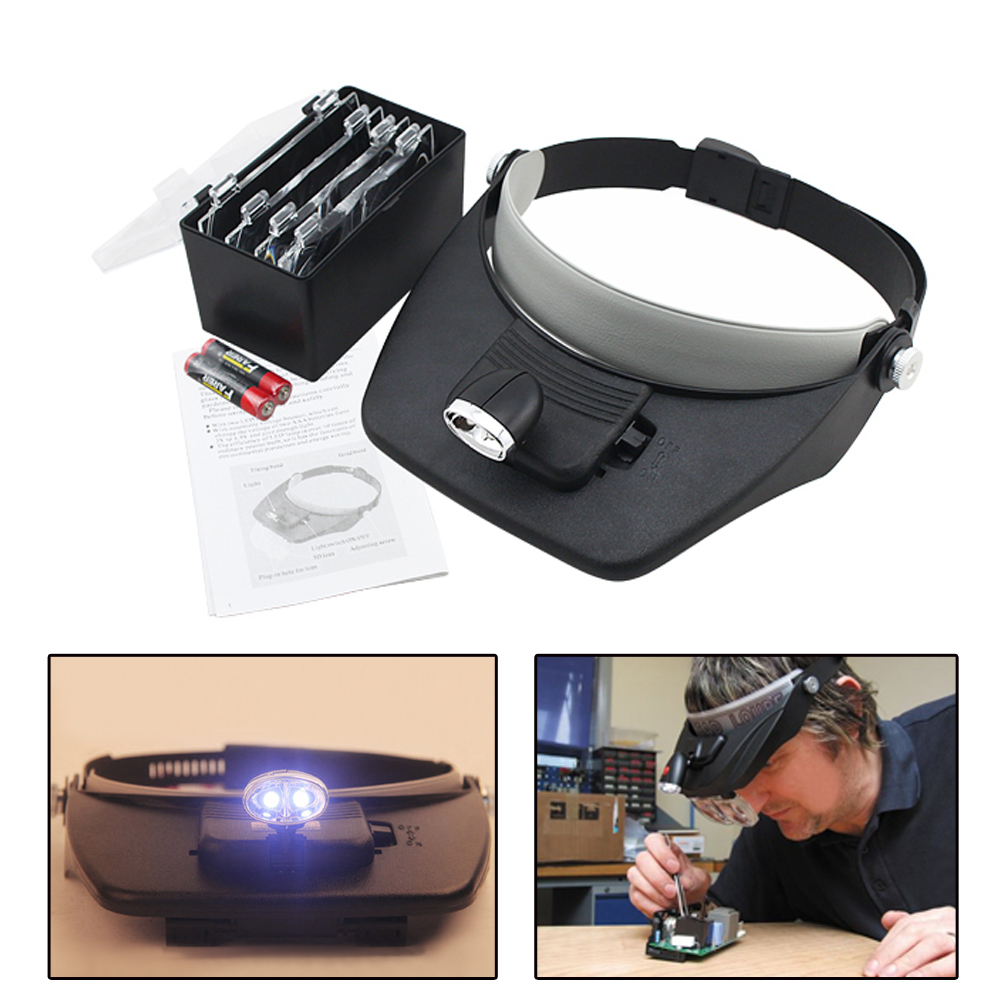Professional LED Headband Magnifier Loupe Microscope Helmet Style LED lights Reading Repair Use 1.5 V AAA battery|Industrial Lighting| |  - title=