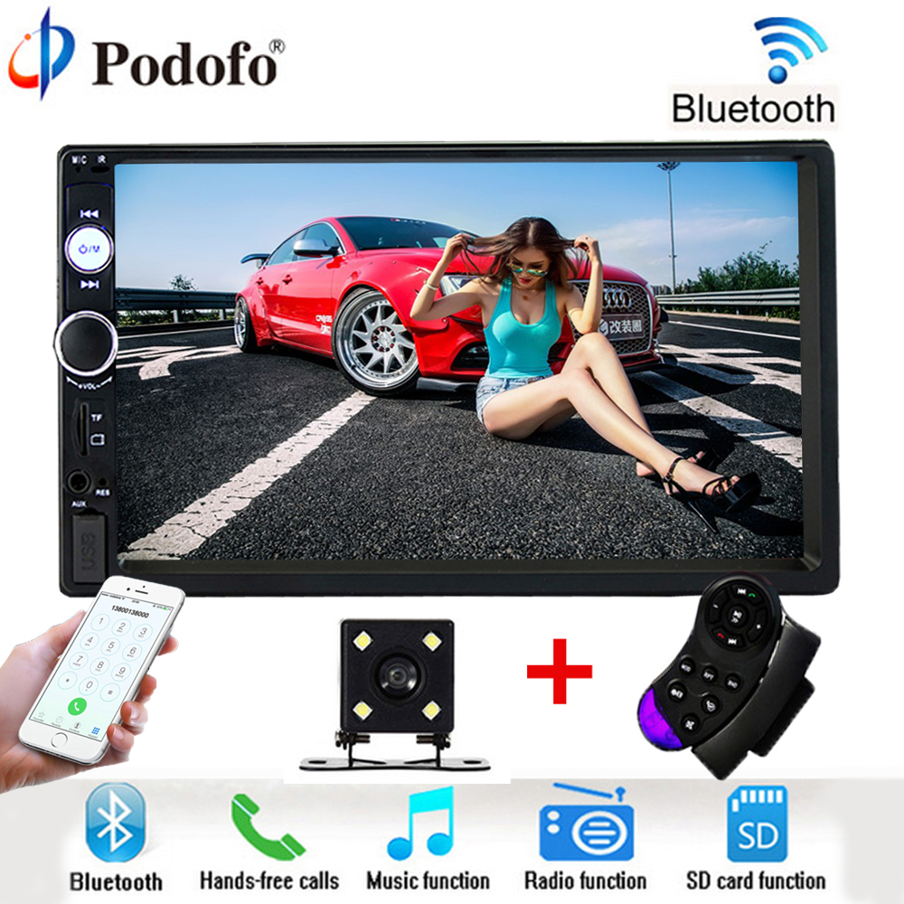 Podofo 2 din Car Radio MP5 player Bluetooth Auto Stereo Autoradio 7 HD Touch Audio Multimedia USB/TF/AUX/FM Car Backup Monitor 7080b 7 inch hd 2 din bluetooth car audio stereo fm mp5 player with touch screen and rearview camera support aux usb tf phone