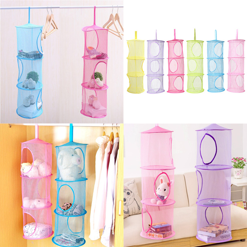 High Quality Breathable Bag Hanging Cabinets Storage Mesh Cage Folding Three Underwear Drying Basket Bedroom Wall Door Wardrobe