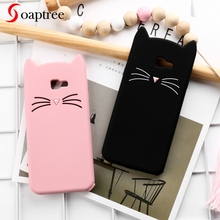 Soaptree 3D Cute Cat Case For Samsung Galaxy J4 Plus 2018 Cases Soft Silicone Cover On Prime Covers Bumper Funda