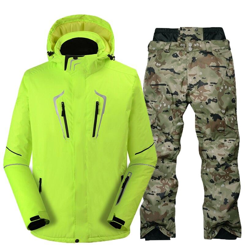 Combinaison de Ski Mâle Coupe-Vent Imperméable Épaissir Neige Vêtements Pour hommes Snowboard Veste Pantalon Costume D'hiver Ski Manteau Pantalon - 2