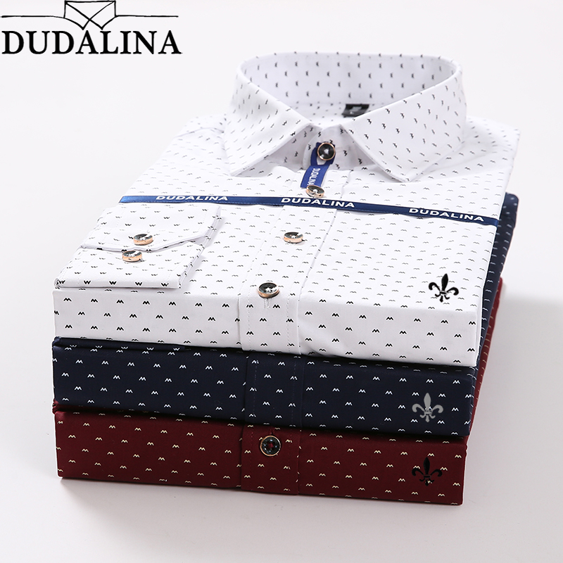 Dudalina <font><b>Polka</b></font> <font><b>Dot</b></font> Embroidery <font><b>Men</b></font> <font><b>Shirt</b></font> Male Long Sleeve Blusa De Frio Male Social Masculina Slim Fit Reserve image