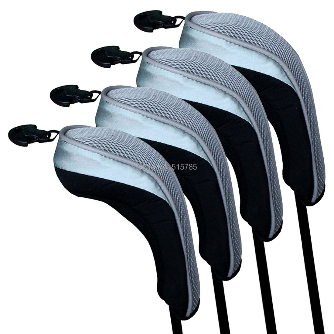 Andux Golf Hybrid Club Head Covers Set Of 4 Black & Grey Interchangeable No. Tag MT/hy03