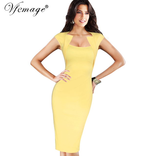89e83fd9eda Vfemage Womens Elegant Vintage Rockabilly Pinup Square Neck Casual Wear to  Work Business Party Bodycon Pencil Sheath Dress 7177