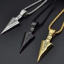 Мужские модные ювелирные изделия золотого, серебряного, черного цвета, подвеска в виде головы стрелы, длинная цепочка, мужское ожерелье из нержавеющей стали s