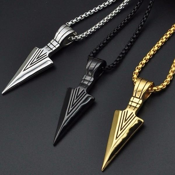 Punk Men/'s Gold Silver Arrow Head Pendant Chain Necklace Fashion Retro Jewelry