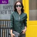 Fashion Ladies jackets women leather Coat Green Mulheres senhoras casacos casaco de pele mesdames jackets women manteau de cuir