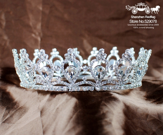 Hot Handmade Queen Crowns and Tiaras Full Circle Rhinestones Crystal Wedding Bridal Pageant Prom Round Crown Hair Accessories
