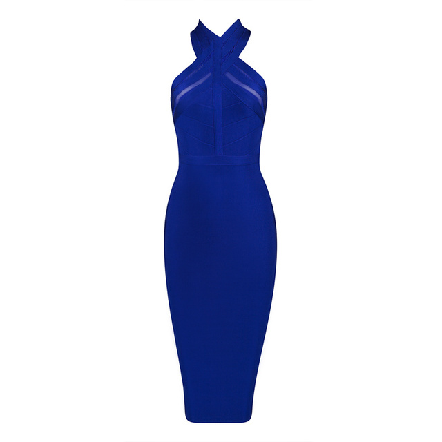 Free Shipping 2016 New Years Eve Dresses for Women Sexy Jewel Blue Bandage Mesh  Dress Nylon Rayon Spandex 687e1f598945