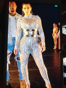 Image 2 - 패션 밝은 크리스탈 다이아몬드 점프 슈트 파티 rompers 의상 여성 싱어 공연 댄스 파티 복장 바디 슈트